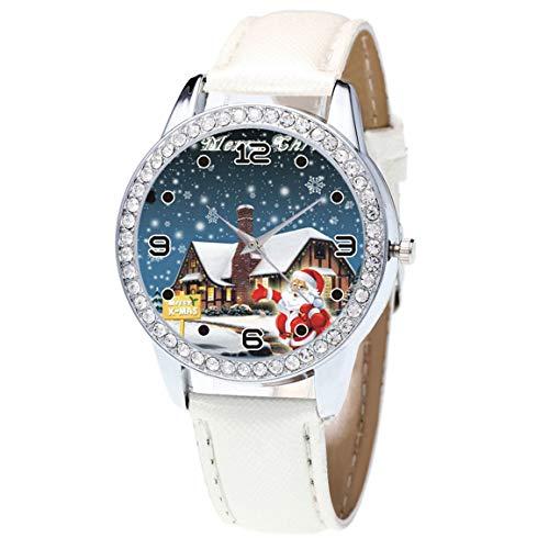 r Frauen Uhr Weihnachten Leder Uhr Diamant Band Haken Schnalle Einfache Analog Quarz Vogue Armbanduhren GIF ()