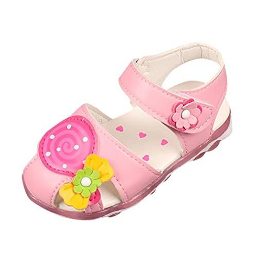 len, Kinder Baby Lutscher Blume Mädchen Sandalen Casual Prinzessin Sandalen Schuhe Flache Sommer Strand Schuhe (Farbe : Rosa, Größe : 4.5 UK) ()