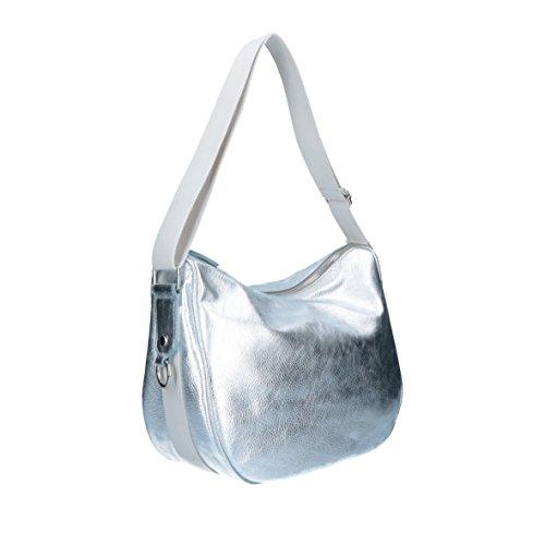 Bright - Valery - Borsa In Pelle Ed Ecopelle Made In Italy - Sacca platino