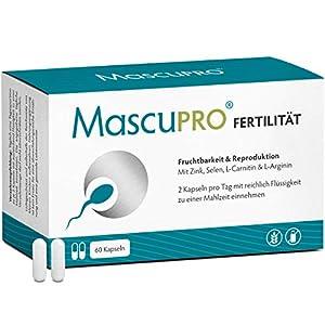 MascuPRO Fertilität Mann – Fruchtbarkeit – Spermienproduktion + 60 Kapseln + L-Carnitin Carnipure®, L- Arginin, Zink + Vitamine Mann Kinderwunsch