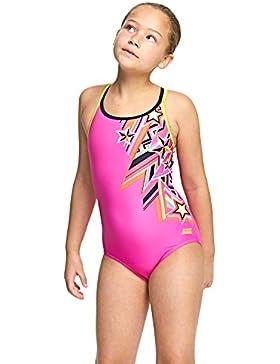 Zoggs, Costume da ragazza a doppia croce posteriore, ragazza, Starburst Double Cross, Pink/Multi-Colour, 12-13...
