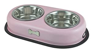 Buckoingham Double Dog Bowl Pink (2 X 0.45 Ltr) from BIIA4