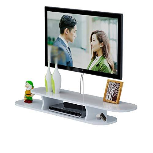 JDH Wandmontierter Tv-Schrank Schwimmendes Regal Wohnzimmer Schlafzimmer Wandregal Bücherregal Multimedia-Konsole Tv-Ständer Schwarz/Weiß (Farbe: Schwarz, Größe: 1.3M), Weiß, 1,2 m 1,3 M-box
