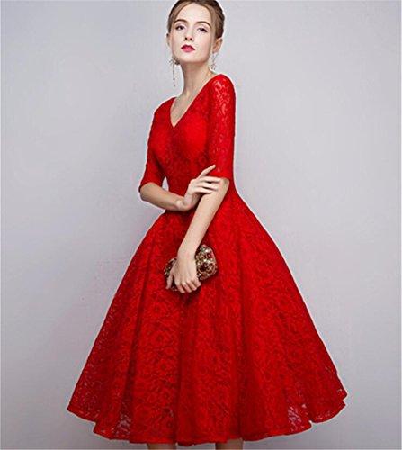 LUCKY-U Frau Kleid, Brautjungfer Kleid V-Ausschnitt Rote Spitze Chiffon Long Beach Brautkleid...