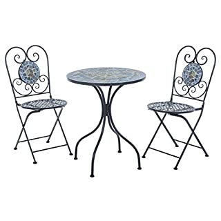 Azuma Mosaic Bistro Set Garden Furniture 2 Seater With Round Table & 2 Folding Chairs For Outdoor Dining Alfresco Eating Food Drink Patio Decking Conservatory Small Gardens Greek Design - Zeus