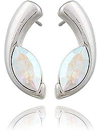 Silber 925 Ohrschmuck Ohrringe Ohrstecker Strass Irisierend oder Schwarz Zirkoni