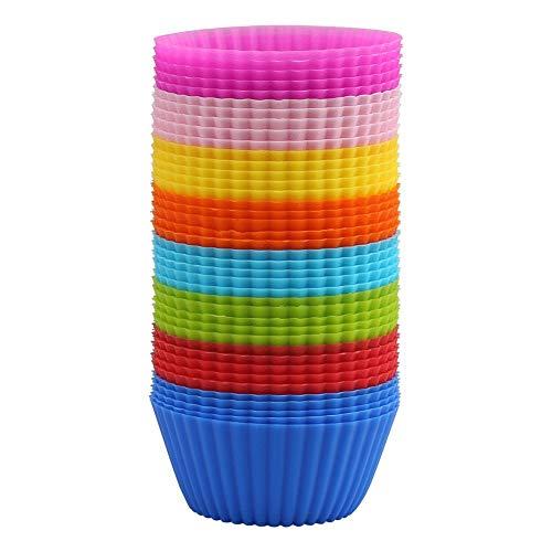 Dulabei 40 stück Muffinförmchen Silikon Muffin Formen Cupcake Formen Backen Cup, 8 Farben Silikon Cupcake