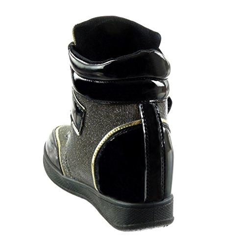 Angkorly Damen Schuhe Sneaker Keilabsatz - Bi-Material - Hohe - Glitzer - String Tanga - Glänzende Keilabsatz 7 cm Gold