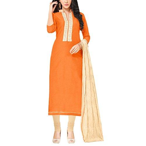 Applecreation Women's Orange Chanderi Silk Semi-stitched Salwar Kameez (MDL1011)