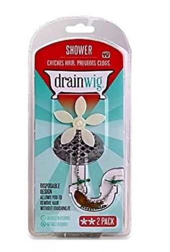 DRAIN WIG DrainWig Bathroom ,Shower Chain Cleaner Hair Catcher Durable DrainWig Bath Shower Drain Hair Catcher (2 in a Pack) Never Clean a Clogged Drain Again (Shower)