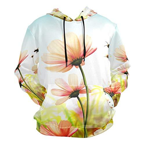 XiangHeFu Herren Hoodies Sweatshirt Bush Flower Daisies Biene Langarm Pullover -