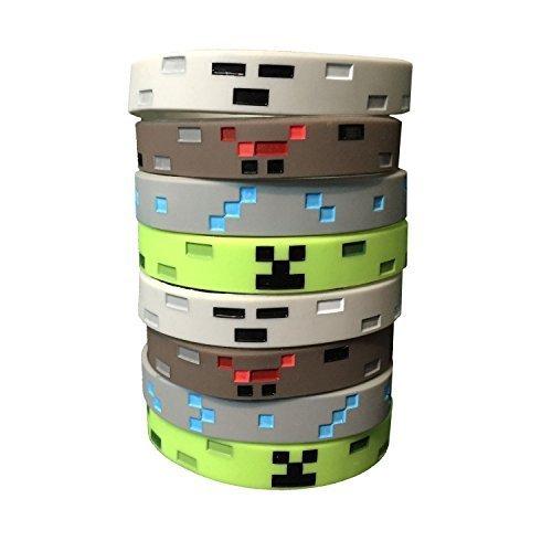 Silikonarmbänder im Pixelminen-Stil (8 Stück) - Pixelstil Mine Crafter - Spinne, Creeper, Skelett, Diamant - 2 von jeder Art