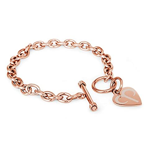 Rose Vergoldet Edelstahl Widder Astrologie Symbol Gravierte Herz Charme, Armband Nur
