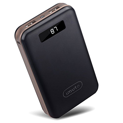 iMuto 20000mAh Compact External Battery Power Bank Portable Charger with Smart LED Digital Display and Quick Charge, Backup Battery Pack Camping Portable Battery Charger for iPhone 6 6S Plus 6+ 5S 4S, iPad Air 2 mini 3 Pro, Samsung Galaxy Note 4 5 3, S6 Edge S6 S5 S4, Tab, Google Nexus 6 5 4, LG G3 G4, HTC One M8 M9, Motorola Moto X, SONY Xperia Z3 4 2, PS Vita, Gopro, Smart Phones and Tablets (Black)