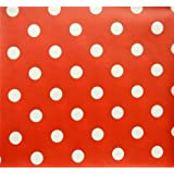 RED POLKA DOT LARGE SPOTS PVC OILCLOTH VINYL FABRIC KITCHEN CAFE BAR TABLE WIPECLEAN PICTURE TABLECLOTH PER METRE 100CM X 135 CM BRAND NEW CUT TO ORDER