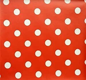 RED POLKA DOT LARGE SPOTS PVC OILCLOTH VINYL FABRIC KITCHEN CAFE BAR TABLE WIPECLEAN PICTURE TABLECLOTH PER METRE 100CM X 135 CM BRAND NEW CUT TO ORDER by QUICKFABRICS
