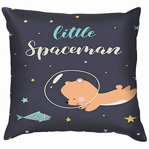 beautiful& Little Cute Bear Space Animals Wildlife Soft Cotton Linen Cushion Cover Pillowcases Throw Pillow Decor Pillow Case Home Decor 18X18 Inch