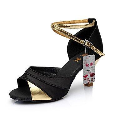 Silence @ latine Chaussures de danse pour femme en satin Talon en similicuir/rouge/argenté/doré doré