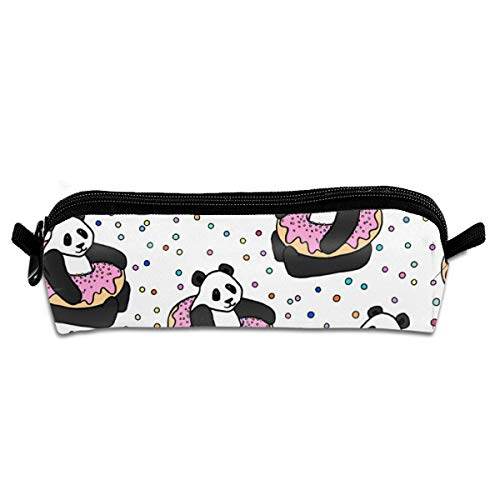 A Very Good Day Pandas Donuts With Sprinkles Student Polyester Double Zipper Pen Box Boys Girls Pencil Case Cosmetic Makeup Bag Pouch Stationery Office School Supplies 21 X 5.5 X 5 cm