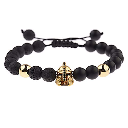 ZQword Römischer Ritter Helm Armband für Männer Steinperlen Armbänder Mala Yoga verstellbares Armband - Olive-partei-kleid