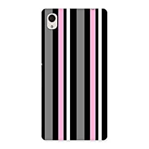 Neo World Classy Pink And Grey Stripes Back Case Cover for Sony Xperia M4