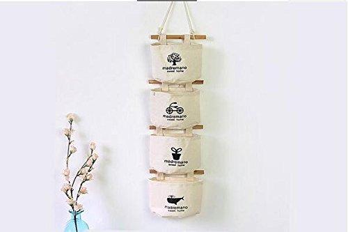Electronic Pocket Organizer (Junsi Cotton/Linen 4 Pockets Taschen Wall Door Closet Schrank Hanging Storage bag organizer Tasche Veranstalter Retro Neuer Stil)