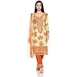 BIBA Women's Dress Material (KO AW17 NADIA101_ORANGE_FREE)
