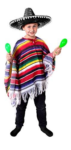 ILOVEFANCYDRESS Kinder Mexikaner Set KOSTÜM VERKLEIDUNG = Poncho+Sombrero=Poncho FRANSEN= SOMBREO Fasching Karneval Halloween= Nicht GEEIGNET FÜR Kinder UNTER 14 Jahre=SCHWARZEM Pompom - Bandito Kinder Kostüm