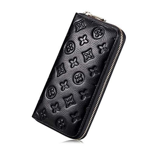 Auner Damen Geldbörse mit RFID-blockierendem Leder, Reißverschluss um die Clutch, große Reisetasche - Schwarz - Einheitsgröße
