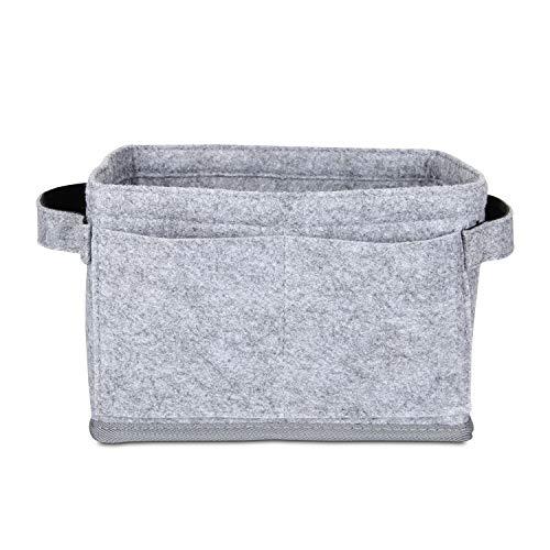 Luxja Taschenorganizer Filz, Bag in Bag Handtaschen Organizer, Taschenorganizer für Handtasche mit 2 Griffen, Grau