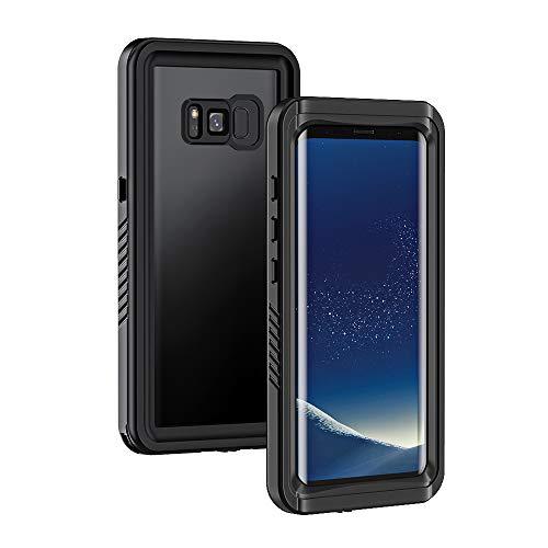 Lanhiem Coque Étanche Galaxy S8, [IP68 Imperméable] [Antichoc] Full Body avec Protection écran intégré Antipoussière Anti-Neige Waterproof Etui pour Galaxy S8, Noir
