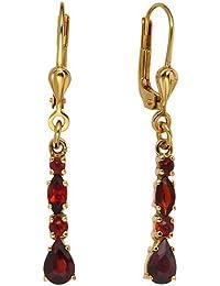 Ohrringe Ohrhänger Boutons mit Granat dunkelrot 375 Gold Gelbgold