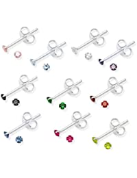 Set 10 PAIRS Genuine Sterling Silver Cubic Zirconia stud Earrings - SIZE: TINY 2mm - Gift Boxed
