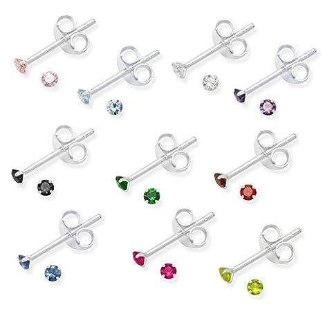 Lot de 10paires de boucles d'oreilles clous en argent sterling 925oxyde de zirconium–Taille: Petit 2mm–Boîte Cadeau