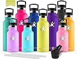 KollyKolla Vakuum-Isolierte Edelstahl Trinkflasche, 600ml BPA-frei Wasserflasche mit Filter, Thermosflasche für Kinder, Mädchen, Schule, Kindergarten, Sport, Wandern, Camping, Outdoor, Oliven