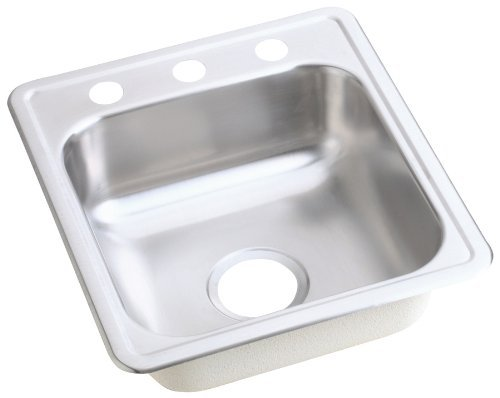 Elkay D11721 Dayton 17-Inch by 21-1/4-Inch Stainless Steel Three-Hole Bar Sink, Satin Finish by Elkay