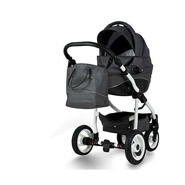 Lux4Kids Pram Stroller 3in1 2in1 Isofix Colour Selection Buggy Car seat Nem Kunstleder Grey Eco-04 4in1 car seat +Isofix Lux4Kids Lux4Kids Nem 3in1 or 2in1 pushchair. You have the choice whether you need a car seat (baby seat certified according to ECE R 44/04 or not). Of course the car is robust, safe and durable Certificate EN 1888:2004, you can also choose our Nem with Isofix. The baby bath has not only ventilation windows for the summer but also a weather footmuff and a lockable rocker function. The push handle adapts to your size and not vice versa, the entire frame is made of a special aluminium alloy with a patented folding mechanism. 1