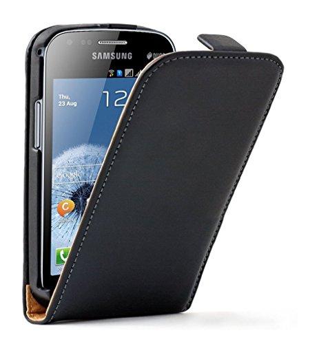 Membrane - Ultra Slim Schwarz Klapptasche Hülle Samsung Galaxy S Duos 2 (GT-S7582) - Flip Case Cover Schutzhülle