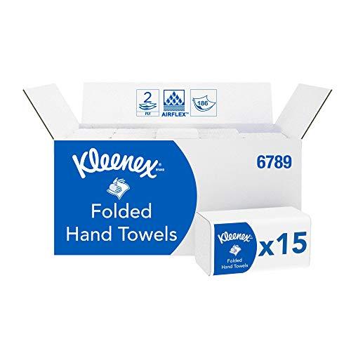 Kleenex, 6789, gefaltete Handtücher, 2-lagig, Weiß, 15 Packungen x 186 Tücher