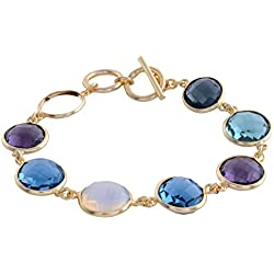 Lindasjewelrystuff Fashion Jewelry Opal Amethyst Blue topaz Golden Gemstone Tennis Bracelet for Women (LJS48)