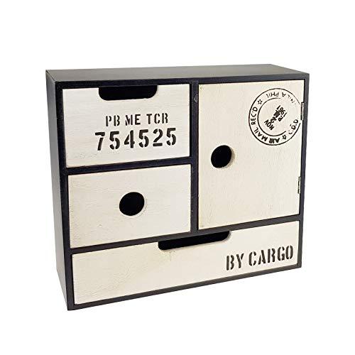 Schwarze Holz-tür (Quantio Mini Schrank - 25 x 22 x 9,5 cm (BxHxT), 3 Schubladen und 1 Tür, Holz, Schwarz/Weiß, Shabby Chic)
