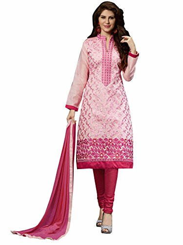 Blissta Pink Embroidered Chanderi Salwar Suit Dress Material(Diwali special 2017, ,great indian festival sale,festival offer,best deals of the day,traditional for women,sales offers)  available at amazon for Rs.999