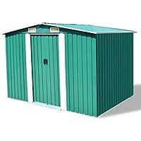 SENLUOWX Caseta de Jardín de Metal Verde para Almacenar una Gran Variedad de Herramientas y Equipamiento