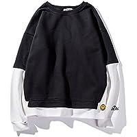 Men 's sweater suéter suelto coreano Jumper jersey de manga larga de manga larga de costura de los estudiantes,Black,XL