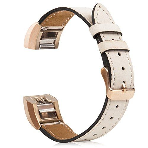 Für Charge 2 Zubehör Band, Wearlizer Lux Echtes Leder Ersatzbänder für Fitbit Charge 2 Sonderausgabe - Rose Gold Buckle Beige Farbe