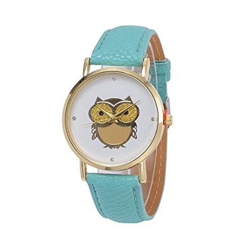 Jaminy Lady PU Leather Strap Eule Muster Quartz Watch,Fashion Unisex Leder Quartz Analog Wrist Simple Watch Round Case Watch (Grün)