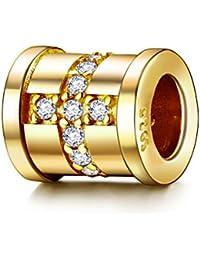 0a4a9f13216 J. Endear colgante de plata 925 con 3 A circonitas Golden Beads Cruz para  Pulsera