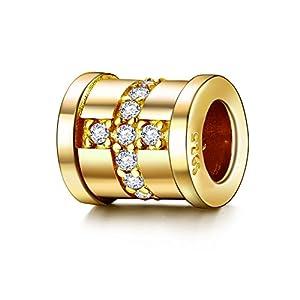 J.Endéar Bead Charms 925 Sterling Silber für Pandora Armband Anhänger Roségold Golden