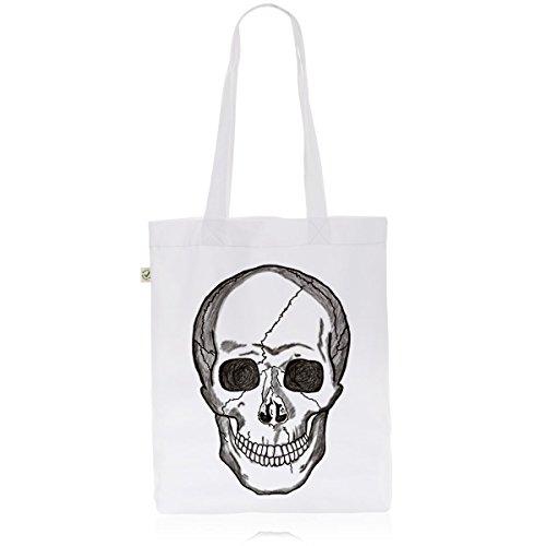 baumwolle Beutel Jutebeutel Tasche Tote Bag rocker skull knochen, Farbe:Weiß ()