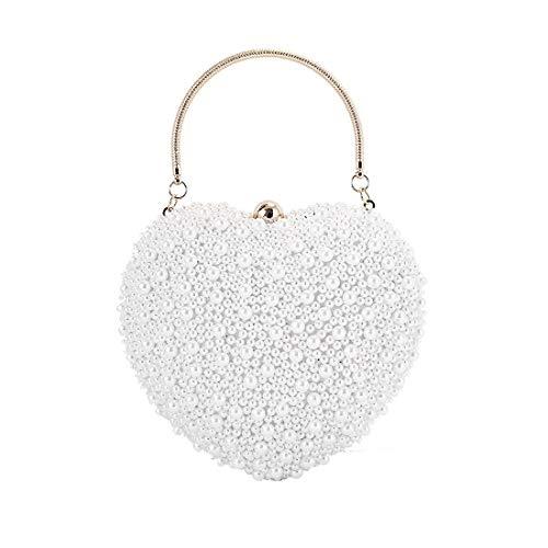 Shiduoli Damen Glitter Pearl Perlen Strass Kupplung Herz Tasche Damen Abendtasche Braut Hochzeit Handtasche Prom Bag Geldbörse (Color : White) - White Heart Handtasche